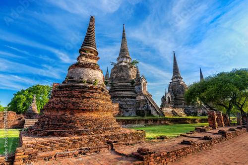 Wall mural Wat Phra Si Sanphet temple in Ayutthaya Historical Park, Ayutthaya Province, Thailand. UNESCO world heritage.