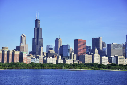City Skyline with high rise buildings and skyscrapers in Chicago Illinois, USA