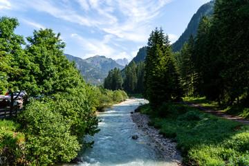 Summer view of Pozza di Fassa - Italian Dolomites. Summer view of Val di Fassa with Pozza village, Trentino, Italy. Summer in the mountains.