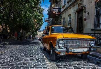 old car in the city