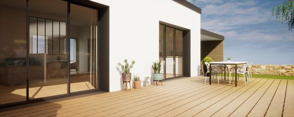 Obraz vue 3d terrasse avec plantes - fototapety do salonu