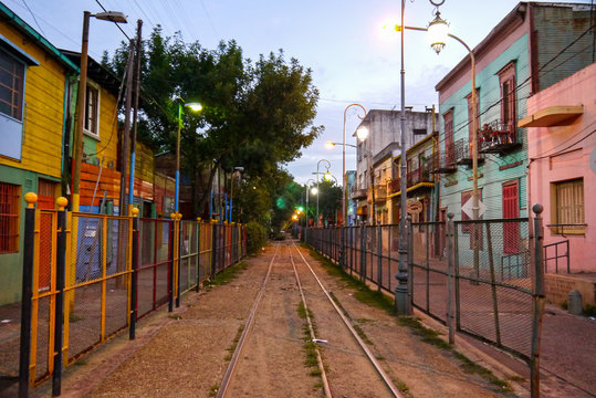 Colorful street in Boca district of Buenos Aires in Argentina