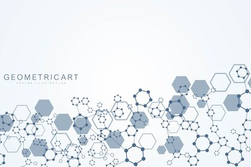 Modern futuristic background of the scientific hexagonal pattern. Virtual abstract background with particle, molecule structure for medical, technology, chemistry, science. Social network vector.