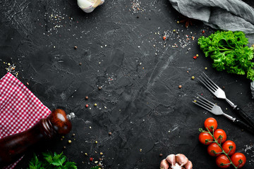 Cooking banner. Fresh vegetables and spices. Top view. Free space for your text.