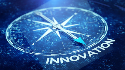 Innovation tecnology concept - Compass needle pointing innovation word. 3d rendering