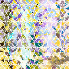 abstract geometric pattern background, retro/vintage style, with circles, lines, strokes and splashesl
