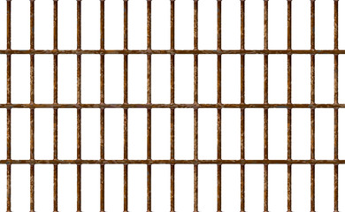Realistic Jail bars rusty, prison background iron interior. Brown cells old. Banner vector detailed illustration metal lattice. Detention centre cell. Isolated way, freedom concept grid