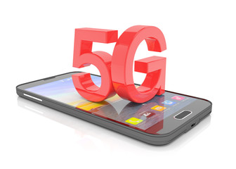 3d rendering of a smartphone with the capital letters 5G in red