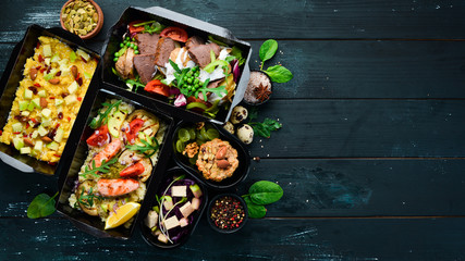 Healthy Dietary Meal. Delivery of restaurant dishes. Top view. Free copy space.