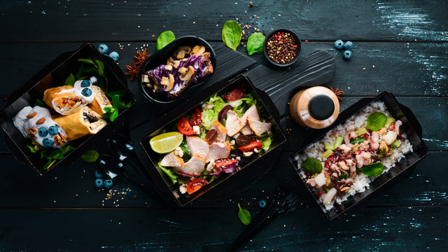 Comfortable food for a day. restaurant dish delivery. Top view. Free space for your text.