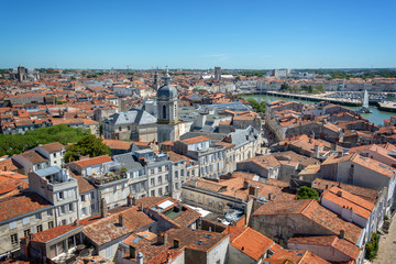 Wall Mural - Aerial view of the old town and harbor of La Rochelle, France