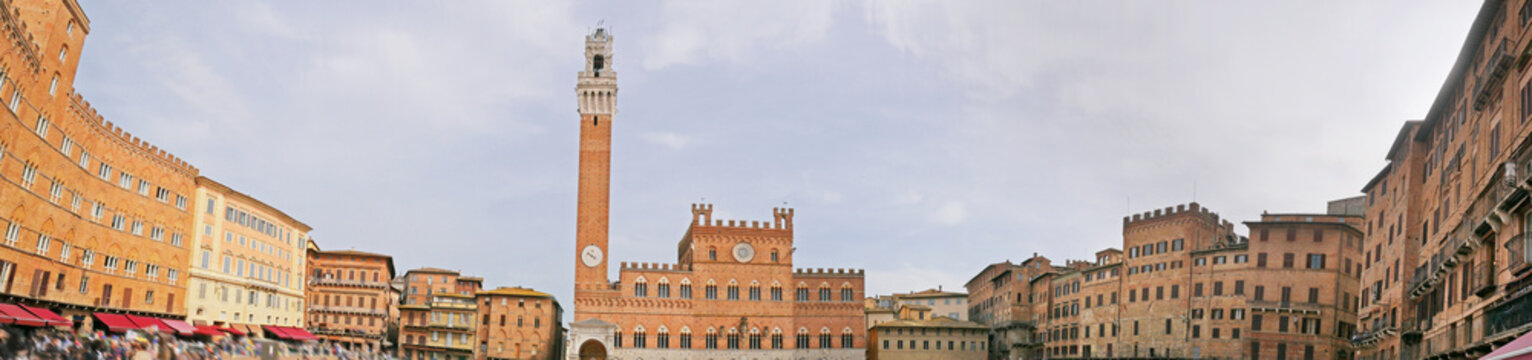 Aerial panaromic view of Siena,Tuscany, Italy. Beautiful top view of Campo Square (Piazza del Campo) and Siena Duomo in Siena