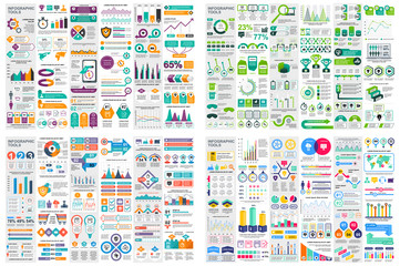Set of infographic elements data visualization vector design template. Can be used for steps, options, business process, workflow, diagram, flowchart concept, timeline, marketing icons, info graphics. Wall mural