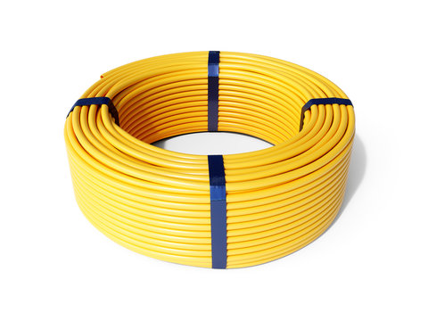 Yellow plastic rolled hose pipe