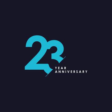 23 Years Anniversary Vector Template Design Illustration