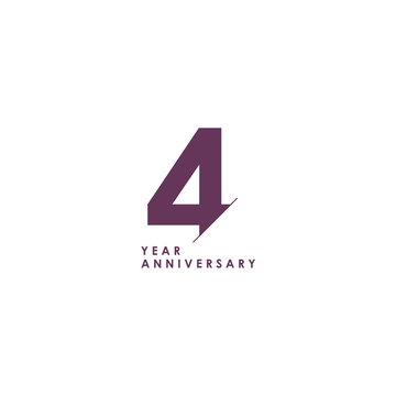 4 Years Anniversary Celebration Vector Template Design Illustration