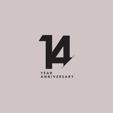 14 Years Anniversary Celebration Vector Template Design Illustration