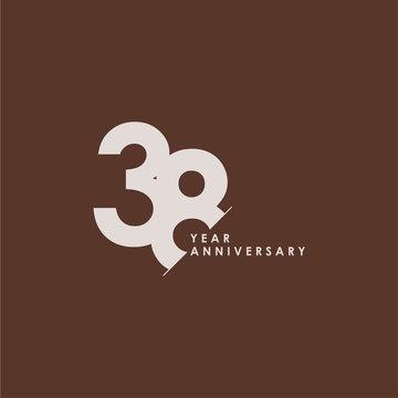 38 Years Anniversary Celebration Vector Template Design Illustration