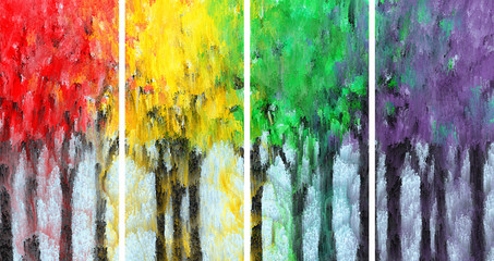 Painting of Impressionist colored forest