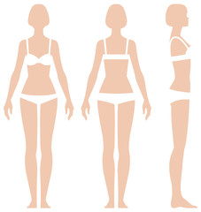 Woman in full length in three projections front view side and back vector illustration