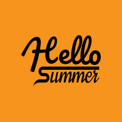 Poster Positive Typography Hello Summer Background.