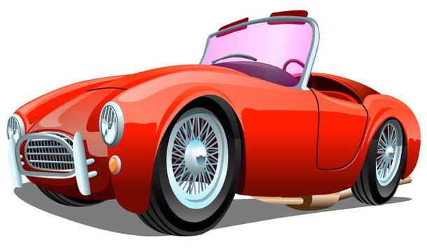 Cartoon sport red passenger retro car, isolated on white background. ESP Vector illustration.
