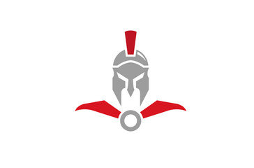 Creative Spartan Helmet Logo Design Vector Symbol Illustration