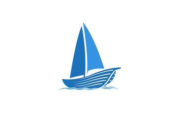 Creative Blue Yacht Boat Logo Design Vector Symbol Illustration