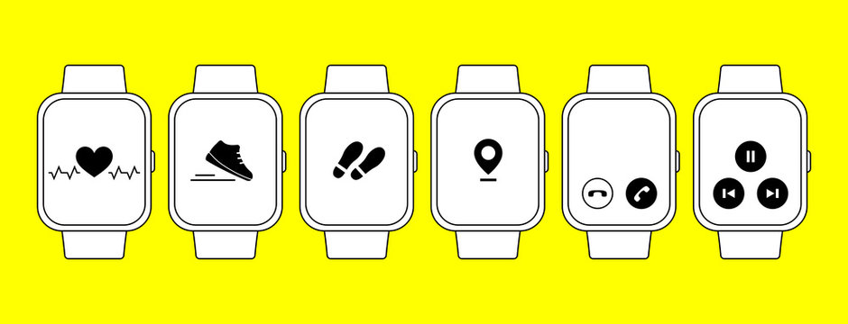 Smart watch and fitness tracker set. Outline vector icons.