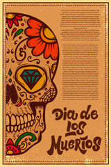 Dia de los muertos (Day of the dead). Mexican sugar skull on grunge background. Design element for poster, logo, label, sign, card, banner. Vector illustration