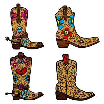 Set of Cowboy boot with floral pattern.  Design element for poster, t shirt, emblem, sign.