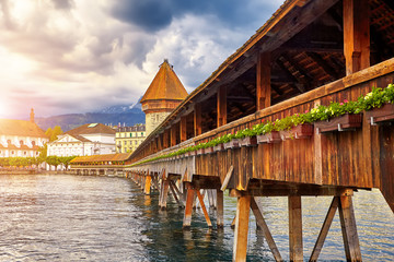 Lucerne, Switzerland - Famous wooden Chapel Bridge, oldest wooden covered bridge in Europe. Luzern