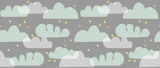 Vector seamless pattern with cartoon clouds