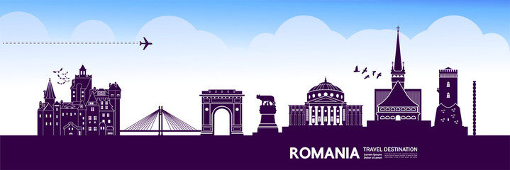Fotomurales - Romania travel destination vector illustration.