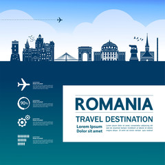 Fotomurales - Romania travel destination vector illustration.