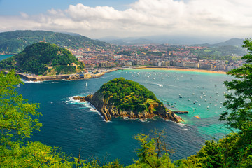 Aerial view of turquoise bay of San Sebastian or Donostia with beach La Concha, Basque country, Spain Wall mural