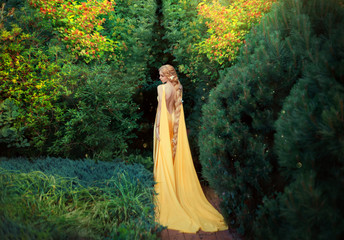slender beauty in elegant bright dress with stretching trains goes to thick of magical garden, golden elf princess with bare trimmed seductive back and long light braided hair looks at her plants.