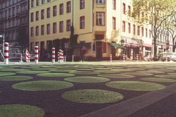 the famous Bergmann street with green dots, Berlin Kreuzberg