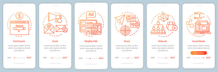 Marketing channels orange gradient onboarding mobile app page screen vector template. Ways of customer attraction walkthrough website steps with illustrations. UX, UI, GUI smartphone interface concept - fototapety na wymiar