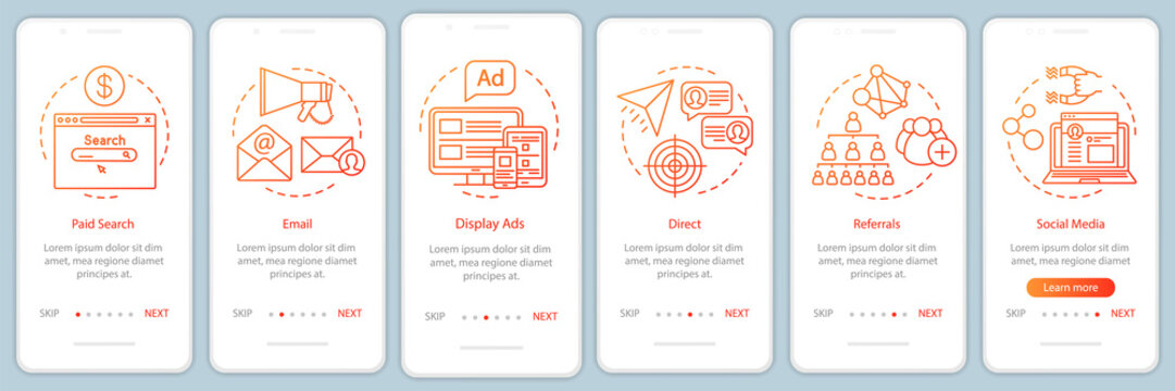 Marketing channels orange gradient onboarding mobile app page screen vector template. Ways of customer attraction walkthrough website steps with illustrations. UX, UI, GUI smartphone interface concept