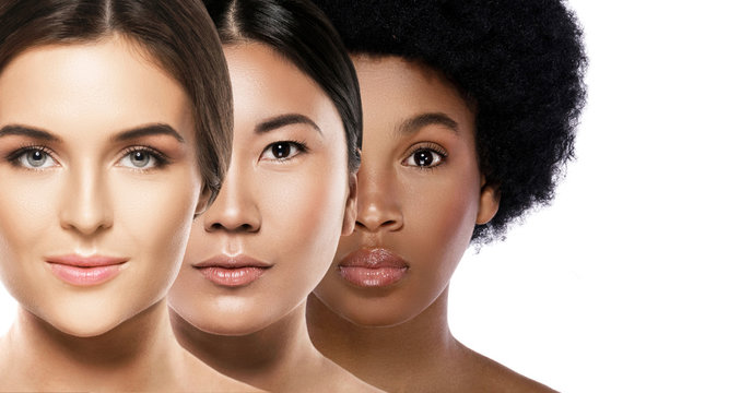 Different ethnicity women - Caucasian, African, Asian.