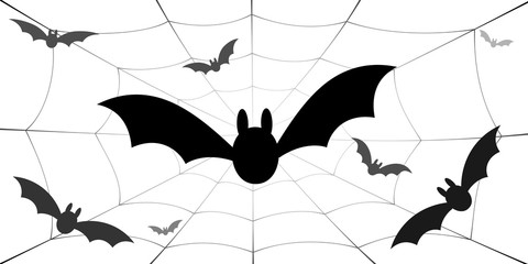 Bat icons set. Bat wings, black web silhouette isolated white background. Symbol Halloween holiday, mystery cartoon dark vampire, night flyin element. Spooky scary flat design. Vector illustration