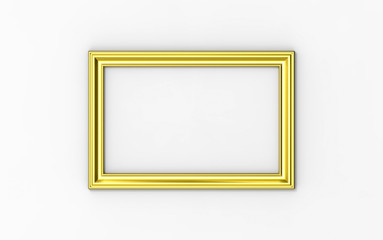 Golden frame hanging on Wall