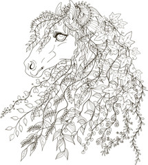 Drawing spring horse in zentangle style for adult coloring pages. Stylized illustration of horse with flying twigs, leaves and flowers instead of mane in tangle doodle style. Drawing page for colourin