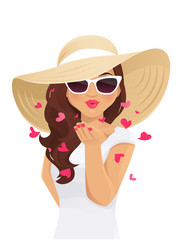 Beatiful woman in straw summer hat and sunglasses sends air kiss isolated vector illustration