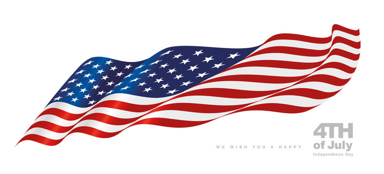 USA waving flag Happy 4th July Independence Day white background banner