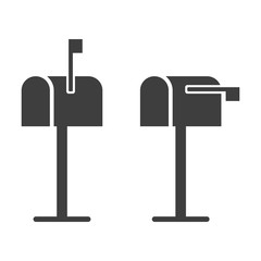 Mailbox icon. Raised and lowered checkbox. Vector on white background