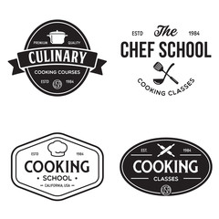 Set of vintage retro handmade badges, labels and logo elements, retro symbols for cooking school, culinary courses, food or home cooking.