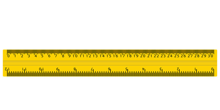 plastic yellow ruler with cm and inches