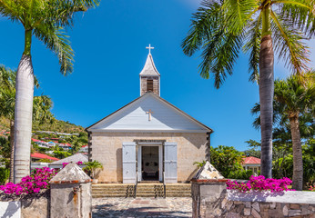 Wall Mural - St Bartholomew's Anglican Church in Saint Barthélemy. Church at harbor of Gustavia, St Barts.